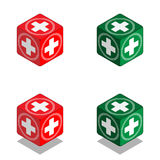 Cube with medical cross in isometric view. Vector cube of health Stock Image