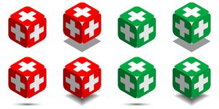 Cube with medical cross in red and green colors, isometric cube of health. With rounded angles and white medical cross on sides, vector icon of medicine cube Stock Photos