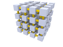 Cube mesh. Isolated gray cube grid connected by yellow beams on white background Royalty Free Stock Photography