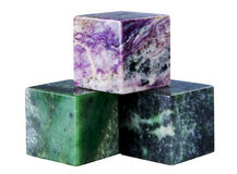 The cube from a mineral also charoit nephrite Royalty Free Stock Images