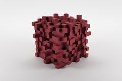Cube moderne en abstact rouge avec les noeuds cubiques sur le fond blanc Image libre de droits