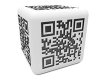 Cube monochromatique en QR Photos stock