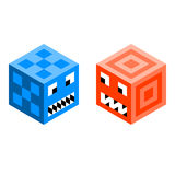 Cube Monsters / Robots. Cube monsters, drawn on a triangle grid. Each face is left as separate triangles so you can modify and create your own royalty free illustration