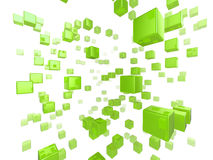 Cube network. High quality illustration of a network of glossy green cubes reaching far into the distance Royalty Free Stock Images