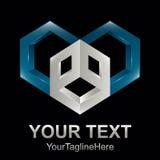 Cube o estilo 3d sextavado no elemento azul e cinzento do molde do logotipo ilustração stock