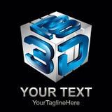 Cube o estilo da letra 3d da caixa no elemento azul e cinzento do molde do logotipo ilustração do vetor