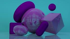 Cube o fundo roxo-violeta abstrato mínimo 3d da forma branca geométrica do pódio ilustração do vetor