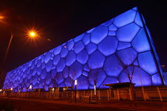 The Cube, Olympic National Park, Beijing. Night View of the Cube, Olympic National Park, Beijing, China. Housed all the water sports events Royalty Free Stock Image