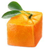 Cube orange. Cube orange on a white background stock photography