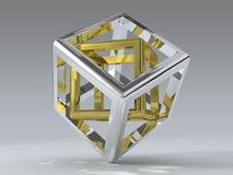 Cube paradox. Metaphor, conceptual 3D model Royalty Free Stock Photos