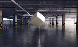 Cube in the parking Royalty Free Stock Image