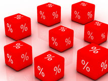 Cube with percent sign Royalty Free Stock Photo