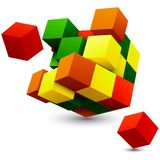 Cube with perspective. 3d model of a cube. Royalty Free Stock Image