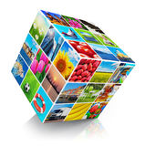 Cube with photo collection. Cube with colorful photo collection collage isolated on white background with reflection effect Stock Photo