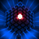 Cube Power. 3D rendered illustration of cubic diagramatic structure made up of cubes, including  a glowing cube Royalty Free Stock Images