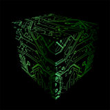 Cube Print Circuits Plates Royalty Free Stock Image