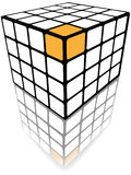 Cube puzzle box 3d gold solution on white Royalty Free Stock Photo