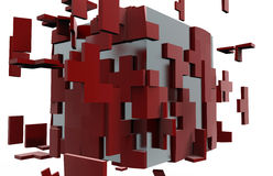 Cube puzzle disassemble concept Royalty Free Stock Photos