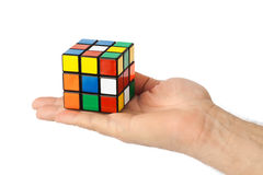 Cube puzzle in hand Royalty Free Stock Photography