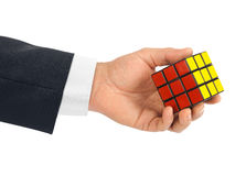 Cube puzzle in hand Royalty Free Stock Images