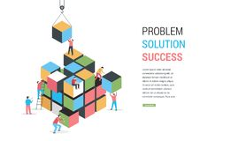Cube Puzzle Solution Solving Problem Concept banner. Vector concept design vector illustration