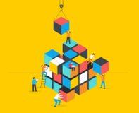 Cube Puzzle Solution Solving Problem Concept banner. Vector concept design stock illustration