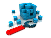 Cube puzzle and wrench Royalty Free Stock Images