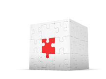 Cube of puzzles with red element Royalty Free Stock Photo