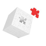 Cube of puzzles with red element Stock Photo