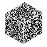 Cube with QR code abstract pattern Royalty Free Stock Photos