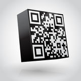 Cube with QR code vector illustration. Royalty Free Stock Photo