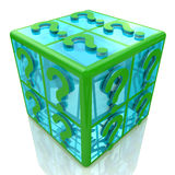 Cube with a question mark Stock Images