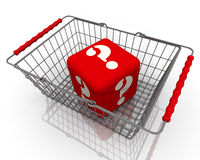 Cube with question symbols in the shopping basket Royalty Free Stock Photography