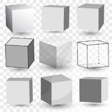 Cube Realistic set, transparent glass block model, paper cardboard box. Vector Stock Images