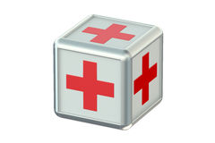 Cube with red crosses, pharmaceutical concept Royalty Free Stock Images