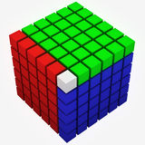Cube rgb. Big cube made of red, green and blue small cubes on white background Royalty Free Stock Photography