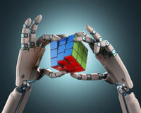 Cube Robot Royalty Free Stock Photography