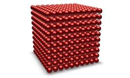 Cube rouge avec des pièces de bille Photos libres de droits