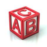Cube rouge avec les lettres A, B et C illustration libre de droits
