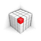Cube rouge différent en rouge de la structure blanche de groupe Image stock