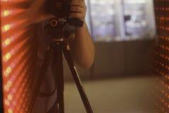 Cube rouge en Setreo LED Photo stock