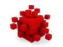 Cube se réunissant à partir des blocs Photos stock