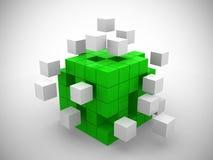 Cube se réunissant à partir des blocs verts Images libres de droits