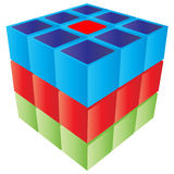 Cube shape. 3d colorful cube game shape Royalty Free Stock Images