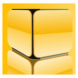 Cube shape. Yellow abstract rounded cube shape Royalty Free Stock Photos