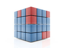 Cube shape. 3d cubes blue and red isolated on white background Stock Photo