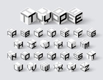Cube shape 3d isometric font. Three-dimentional alphabet letters royalty free illustration