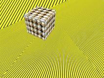 Cube shape on yellow striped pattern.Abstract modern Isometric b Stock Image