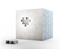 Cube shaped puzzle. Problem solving concept Stock Images