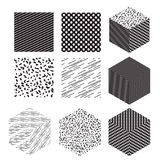 Cube shapes with patterns set. Vector illustration. Trendy patterns and wallpapers. Modern style Stock Image